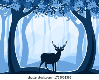 Silhouette of a deer in the forest at sunrise