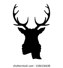 Silhouette deer head in scarf on white background. Vector