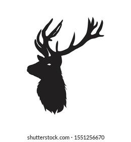 silhouette deer head in white background