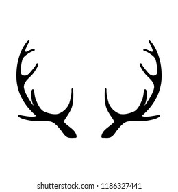 Silhouette of deer horns isolated on white background. Vector