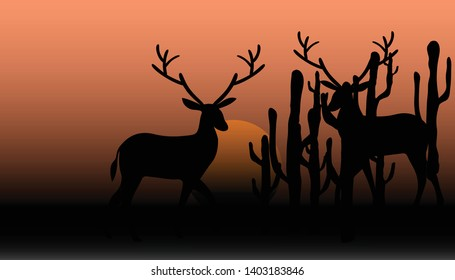silhouette of deer on a background