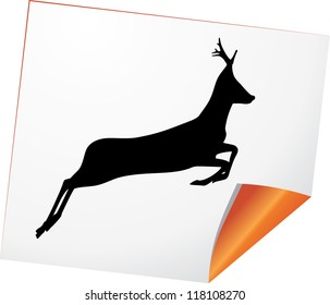 Silhouette of deer on a curled paper. Vector