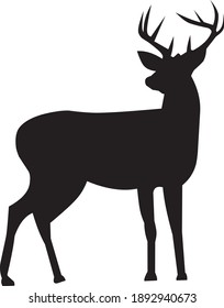 silhouette of deer on whitw background.vector animal