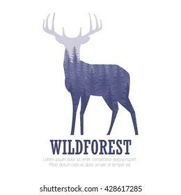 Silhouette of a deer with pine forest, blue and white colors background, vector illustration