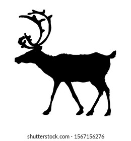 Silhouette of a deer. Vector illustration.