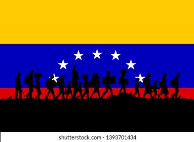 Silhouette of depressed people walking with Flag of Venezuela as a background,vector