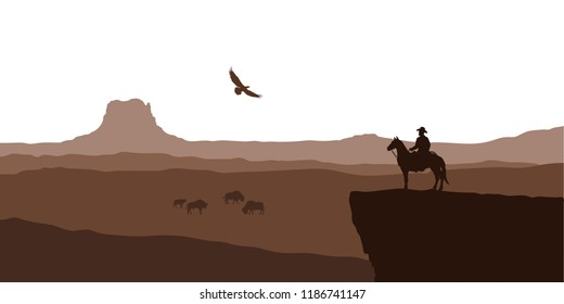 Silhouette of desert with cowboy on horse. Natural panorama of canyon with mountains. American landscape. Wildlife western scene. Vector illustration