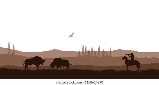 Silhouette of desert with cowboy on horse. Natural panorama of hunting scenery. American landscape. Wildlife western scene. Vector illustration