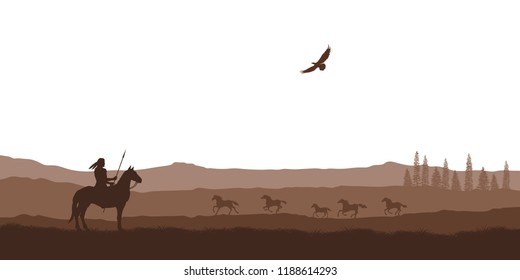 Silhouette of desert with indian on horse. Natural panorama of wilderness scenery. American landscape. Wildlife western scene. Vector illustration