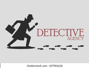 Silhouette of detective agency. Vector illustration