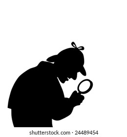 silhouette of a detective with magnifying glass