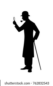 Silhouette of detective vector illustration.