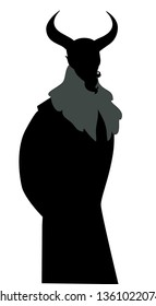 Silhouette of Devil. Man wearing a mask and big horns, mustache, goatee and austere clothes from old times, isolated on white background