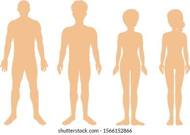 Silhouette of different human on white background illustration