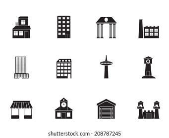 Silhouette different kind of building and City icons - vector icon set