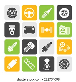 Silhouette Different kind of car parts icons - vector icon set