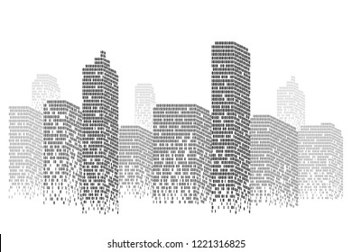 Silhouette digital city scape Isolated or white background. Modern flat design. Futuristic technology concept. Eps10 Vector illustration.