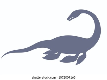 Silhouette of dinosaur Nessie form Loch Ness lake vector illustration, Loch Ness monster isolated on white background.
