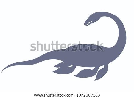 silhouette dinosaur nessie form loch ness stock vector royalty free