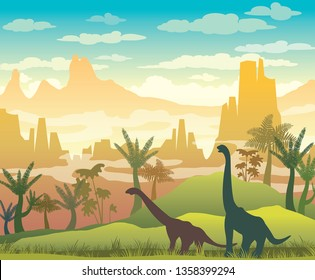 Silhouette of dinosaurs, green grass, plants and mountains on a blue cloudy sky. Prehistoric illustration with extinct animals. Vector nature landscape with diplodocus and pterodactyls.