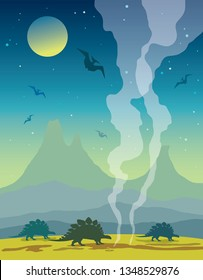 Silhouette of dinosaurs, volcanoes and mountains on a night sky with full moon and stars. Prehistoric illustration with extinct animals. Vector nature landscape with stegosaurus and pterodactyls.