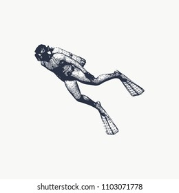 Silhouette of diver. Icon diver. The concept of sport diving. Vintage engraved illustration