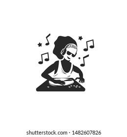 Silhouette DJ player dreadlocks hairstyles logo vector icon ilustration