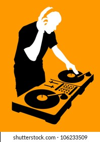 Silhouette of a DJ wearing headphones and scratching a record on the turntable.