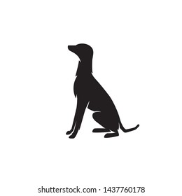 Silhouette Dog sitting down vector illustration. Dog vector template