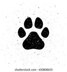 Silhouette of dog's paw in grunge style. Dirty trail. Wild nature. Small particles, dust. Vector illustration