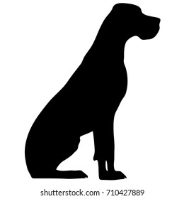 Silhouette of a dog.Vector illustration of doberman pinscher. Bloodhound