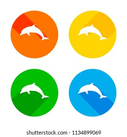 silhouette of dolphin. Flat white icon on colored circles background. Four different long shadows in each corners