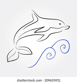 silhouette dolphin on sea wave - vector illustration