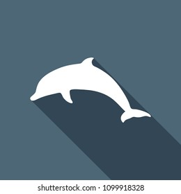 silhouette of dolphin. White flat icon with long shadow on background