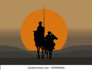 Silhouette of Don Quixote de la Mancha, of Cervantes spanish novelist, with windmills and sunset