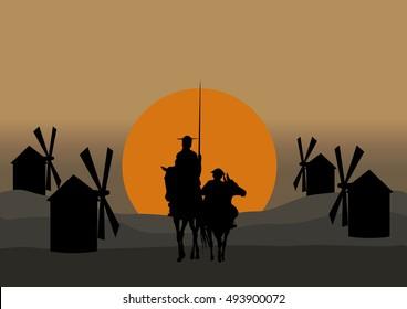 Silhouette of Don Quixote de la Mancha, of Cervantes spanish novelist, with windmills and sunset