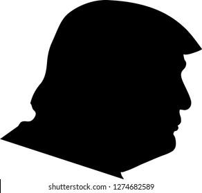 Silhouette of Donald Trump (vector), Tuebingen/Germany-01/05/19