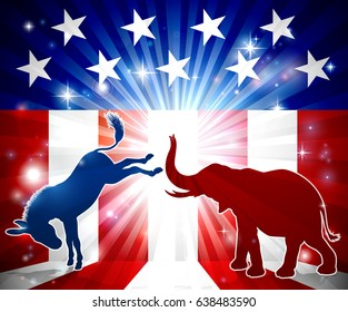 A silhouette donkey and an elephant with an American flag in the background