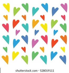 Silhouette Doodle Heart in Rainbow Colors