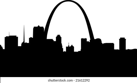Silhouette of downtown Saint Louis. The Gateway Arch is the focal point.