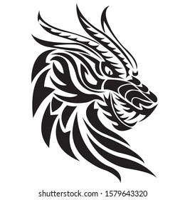 The silhouette of a dragon head painted black with various lines. Logo of the fabulous animal face of the dragon. Vector illustration for design