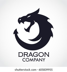 silhouette dragon stylized logo