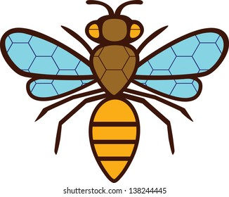 The silhouette drawing bee. On the wings and body painted a grid of hexagons.