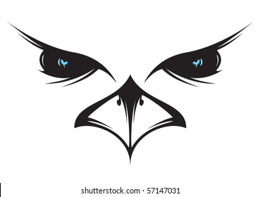 A silhouette drawing of an owl face.