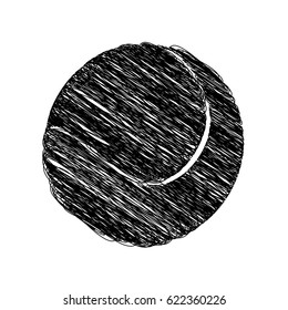 silhouette drawing tennis ball element sport vector illustration