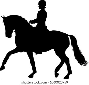 A silhouette of a dressage rider on a horse.