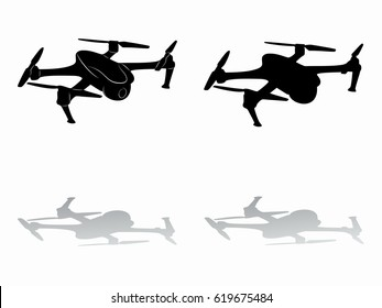 silhouette of a drone flying, black and white drawing, white background