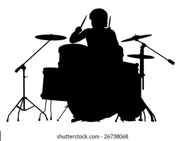 Silhouette of the drummer on a white background. A vector illustration.