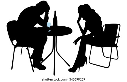 Silhouette of drunk man and crying woman