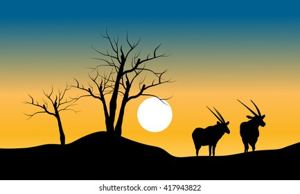 Silhouette of dry tree and antelope at the morning